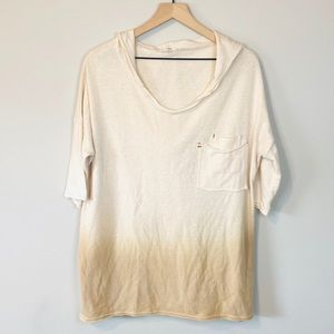 Easel Cream Ombre Hoodie Pullover Short Sleeve